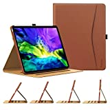 TiMOVO Case for New iPad Pro 11 Inch 2020 (2nd Generation), [4 Viewing Angles] PU Leather Folding Folio Case Cover, Support Apple Pencil Pair & Charging with Auto Wake/Sleep - Brown