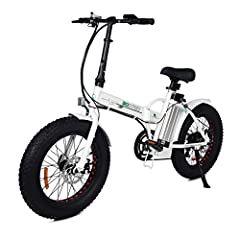 Strong driving force 500W Motor Battery: 36V 12ah Lithium Cell.Charging time: 6-8 hours. If you need a folding bike with a higher configuration, you can search for the ASIN B07W93D67V on Amazon. 20'' X 4.0'' Fat Tire For All Terrain.Front and Rear Di...