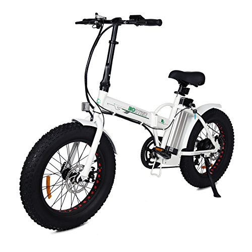 ECOTRIC 20' New Fat Tire Folding Electric Bike Beach Snow Bicycle ebike 500W Electric Moped Electric Mountain Bicycles … (White and Black)