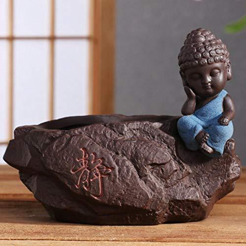 Keramische bloempotten kleine Boeddha monnik prachtige keramische decoraties kleur zand aardewerk thee spelenplantenbakkenbloempot, type 1