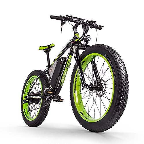 RICH BIT Elektrofahrrad 1000W 26-Zoll E-Bike 48V * 17Ah Li-Batterie Fatbike Herren Fahrrad Beachbike Geeignet für 165-195cm RT022 (Grün)