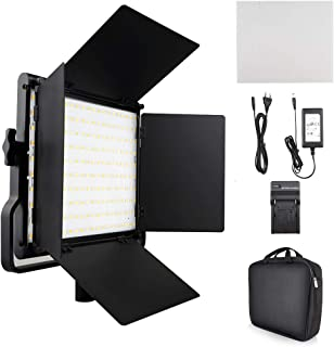 FOSITAN L4500K Bi-Color LED Video Light with Barndoor CRI 96+ 200 SMD LED Camera Light for Studio Photography Shooting (U Bracket, LCD Display - Single Light)