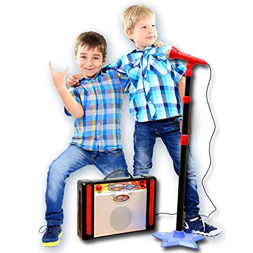 IQ Toys Kids Karaoke Machine Microphone Stand and Speaker with Adjustable Mic Stand and Volume, Connects to Your iPod, MP3 Player, and CD Player