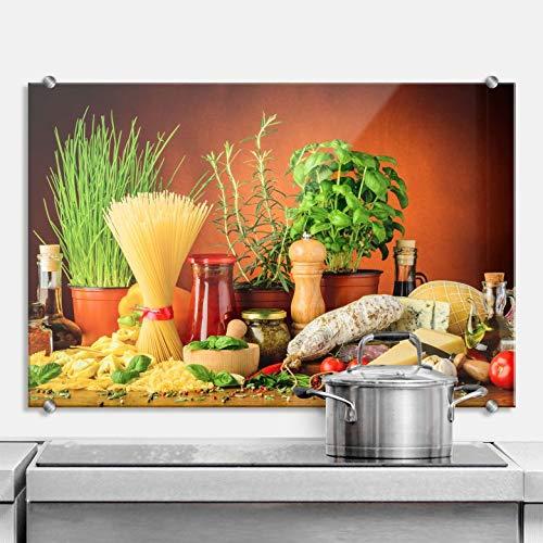 XXL Glasbild Wandspritzschutz Herd Spritzschutz Pfannen Küchen Rückenwand Kräuter mit Klemmbefestigung Edelstahl (60 x 40 cm, Italienisch Kochen)