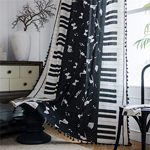 YUNSW Bohemian Style Cotton Linen Curtains Piano Notes Printed Curtains Bedroom Living Room Half Blackout Curtains 1 Piece