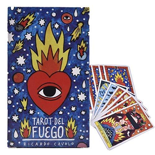 HALASHAO Tarot Del Fuego,Retro Wahrsagerei Schicksal Kartenspiel Vorhersage Zukünftiger Spielkarten, Spanisches Brettspiel
