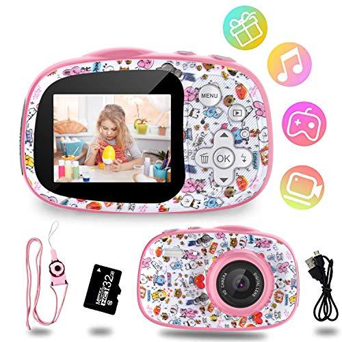 Cámara Digital para Niños, 12MP Digital Cámaras Fotos Infantil Digitales Selfie, 1080P HD Video Pantalla de 2 Pulgadas con Tarjeta TF 32GB Regalos Cámara para niños de 3 a 12 años (Rosa)