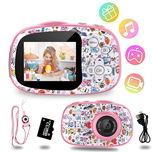 Kinder Kamera, 12MP 1080P HD Video Digitalkamera für Kinder, 2,0 Zoll-Display mit 32GB TF-Karte,MP3/MP4/Spiele,Fotoapparat Kinder Geschenk für 4-12 Jahre alte Jungen und Mädchen
