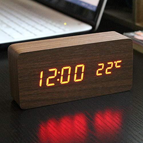 NZNZ Alarm Klok Met Drie Alarm Groepen Van Antieke Desktop Klok Led Mute Klok Digitale Horloge Board Slaapkamer Houten Bamboe