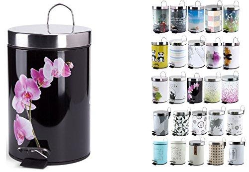 "MSV Design Kosmetikeimer Bad Treteimer ""Lanyu Black"" 3 Liter (ØxH): ca. 17 x 25,5 cm"