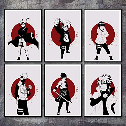 mmzki Leinwand Gedruckt Poster Home Dekorative Nordischen Stil Hd Anime Naruto Kakashi Gemälde Wandkunstwerk Bilder Wohnzimmer Modulare 50X70MX6