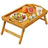 Pipishell - Vassoio da letto in bambù, con gambe pieghevoli, per divano, letto, per mangiare e lavorare, utilizzabile come vassoio da scrivania per computer portatile e porta snack