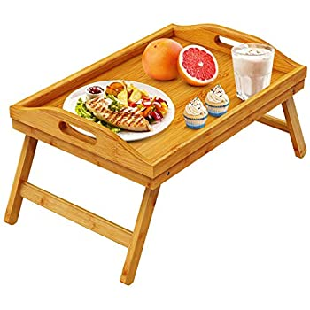 Pipishell Bamboo Bed Tray Table Breakfast Serving Tray with Foldable Legs for Sofa Bed Food Eating Working Used As Laptop Desk Snack Tray