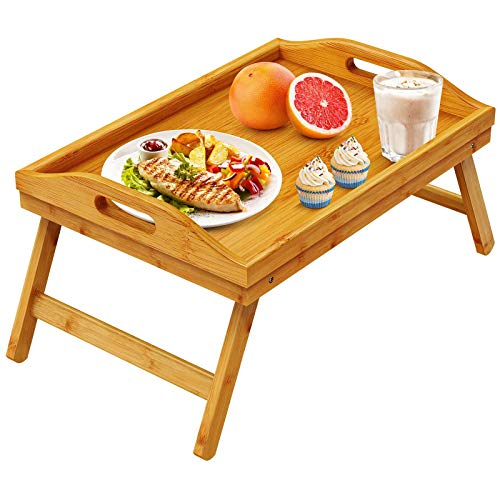 Pipishell Bamboo Bed Tray Table with Foldable Legs, Breakfast Tray for Sofa, Bed, Eating, Working, Used As Desk Snack Tray