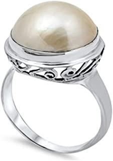Sterling Silver Round Brown Mabe Pearl with Fancy Vine Design Ring, Face Height of 18MM