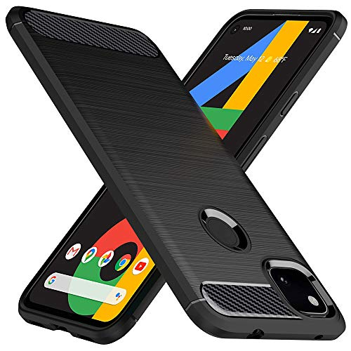 Peakally Google Pixel 4a Hülle aus kohlefaserverstärktem Kunststoff [Anti-Slip] [Kratzfest] TPU-Handyhülle Schutzhülle für Google Pixel 4a - Schwarz