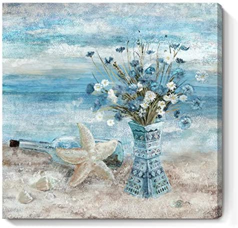 Flower Canvas Wall Art for Living Room Modern Abstract Ocean Beach Wall Decor Print Blue and product image