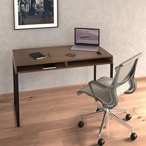 Escritorio Home Office Minimalista Alta Calidad de 120 x 60 x 77cm Fabricado en Acero y Laminado Premium Nogal. Modelo Zen H (NO Chino)