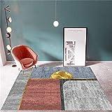 La Alfombra Alfombra Juvenil Alfombra de diseño geométrico Gris Rojo Dorado Antideslizante y fácil de Limpiar dormitorios Juveniles Alfombra para Salon 60*90CM