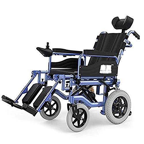 Silla de Ruedas eléctrica Plegable, Silla de ruedas eléctrica for trabajo pesado con reposacabezas, plegable y ligero silla de ruedas eléctrica, asiento Ancho 45cm, ajustable del respaldo y de