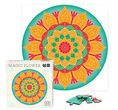Rompecabezas 500 Piezas, Rompecabezas Redondo Mandalas, 48x48cm Rompecabezas para niños, jóvenes y Adultos