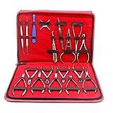 18 piezas de kit de herramientas dentales de ortodoncia - Alicates de ortodoncia Pinzas de soporte surtidas Pinzas de soporte automático Pinzas de acción inversa Alicates de prensado Alicates de cue