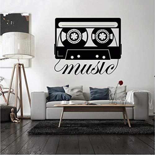 Estilo de música Tatuajes de pared Casete de música Vinilo Pegatina Grabadora de cinta Diseño Mural de pared Reproductor de música Pegatinas para la decoración casera 57 * 48 cm