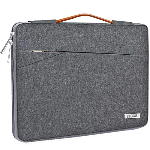 TECOOL 14 Inch Laptop Sleeve Protective Case Cover with Handle and Front Pockets for 14 Inch HP Stream Lenovo Thinkpad Ideapad Dell Acer ASUS Laptops Chromebooks Notebooks, Dark grey