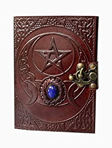 Leather Witch Journal Pentagram 7 x 5 Inch Stone with Triple Moon Embossed Blank Spell Book of Shadows Journals with Lock Clasp Pentacle Wicca Pagan Supplies Witchcraft Unlined Paper Notebook