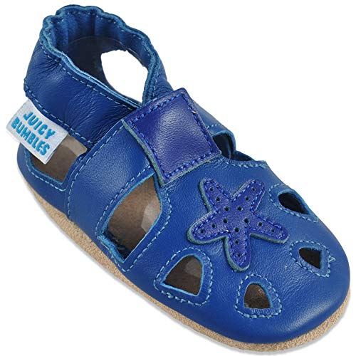 Baby Sandalen - Lauflernschuhe - Krabbelschuhe - Babyschuhe - Blaue Seestern 12-18 Monate (Größe 22/23)