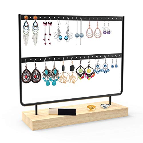 ANNDOFY Earrings Organizer Jewelry Display Stand, 2-Tier Earring Holder Rack for Hanging Earrings, Metal and Wood Basic Large Storage Earring Jewelry Display Tree as Women Girls Gift