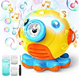 Hamdol Bubble Machine Blower for Toddlers, Octopus Auto Bubble Maker with Music and Light for Kids 3000+ Bubbles/min, 160ml Bubble Machine Solution, Portable Bubble Toys for Wedding Indoor Outdoor