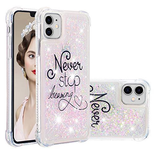 COTDINFOR iPhone 11(6.1 Inch Funda Líquido Cute 3D Glitter Sparkle Bling Caso Silicona Blanda Protectora Carcasa para iPhone 11 2019 Pink...