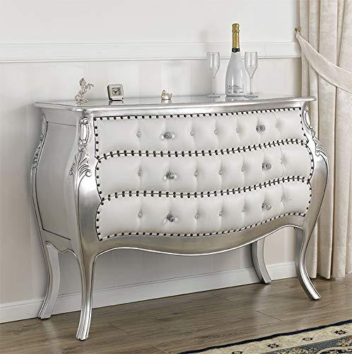 SIMONE GUARRACINO LUXURY DESIGN Commode Brilliant Style Baroque Moderne tiroir bombé Feuille Argent Similicuir Blanc Boutons et poignées Crystal SW