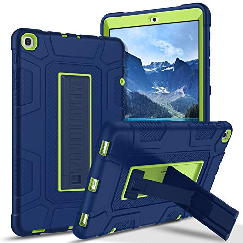 Galaxy Tab A 10.1 2019 Case SM-T510/T515 GUAGUA Kickstand 3 in 1 Hybrid Hard Heavy Duty Rugged Shockproof Protective Anti-Scratch Tablet Case for Samsung Galaxy Tab A 10.1 2019 Navy Blue/Yellow