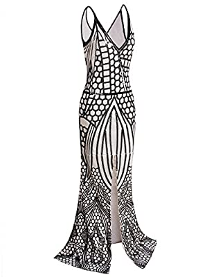 Vijiv 1920s Long Slit Prom Dresses Deep V Neck Sequin Mermaid Bridesmaid Evening Dress , Black Beige , Small