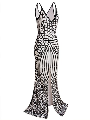VIJIV 1920s Long Slit Prom Dresses Deep V Neck Sequin Mermaid Bridesmaid Evening Dress Black Beige