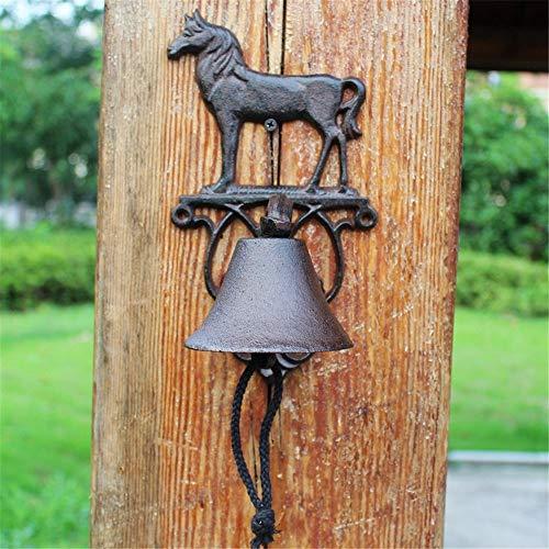 Vintage Bell Cast Iron Wandmontage Antieke Uitstekende Gietijzer Opknoping Bell Garden deurbel Wall Mounted Voordeur Bell voor Garden Farmhouse Yard (Color : Multi-colored, Size : Free size)