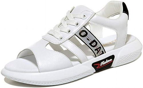 LTN LTN Ltd - sandals Sandales en Cuir à Fond Plat étudiant D'été pour Femmes Enceintes Chaussures Antidérapantes, Noir, 38  à vendre