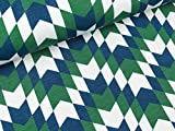 Swafing Modalsweat New York dunkelblau-dunkelgrün-weiß by