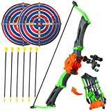 Bow and Arrow for Kids 3-12 Years Old, Youth Archery Toy Set with 6 Suction Cup Arrows and 2 Target, Foldable, Adjustable, and Portable for Beginner Boys and Girls for Outdoor Games & Hunting