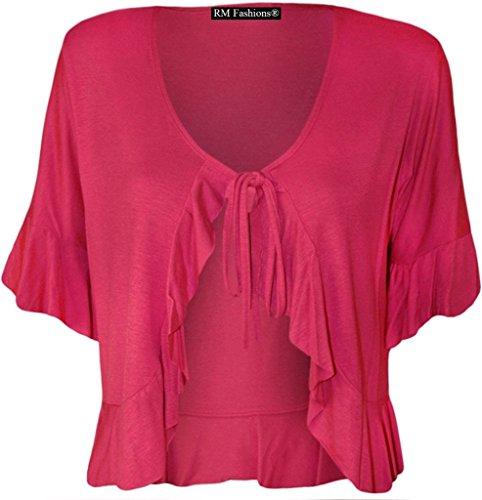 Rimi Hanger Women's Plus Size Frill Tie Bolero Shrug Cardigan - Hot Pink - US 18-20 (UK 22-24)