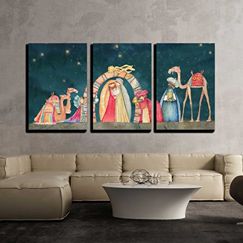 wall26 - 3 Piece Canvas Wall Art - Illustration Christian Christmas Nativity Scene with The Three Wise Men - Modern Home Art Stretched and Framed Ready to Hang 16'x24'x3 Panels