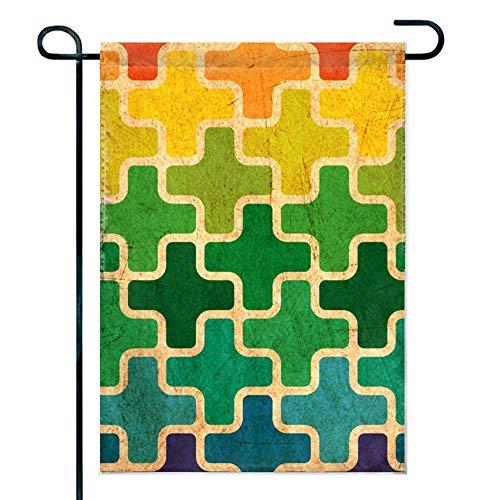 hongwei Puzzle coloré pièce Jardin Drapeau Saison Drapeau Drapeau de Bienvenue, Drapeaux intérieurs et extérieurs, Double Face