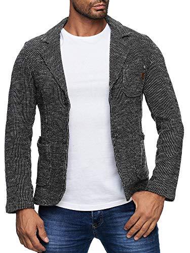 Reslad Herren-Sakko Sportlich Jakett Anzug Jacke Slim Fit Freizeit Blazer-Herren RS-1421 Anthrazit XL