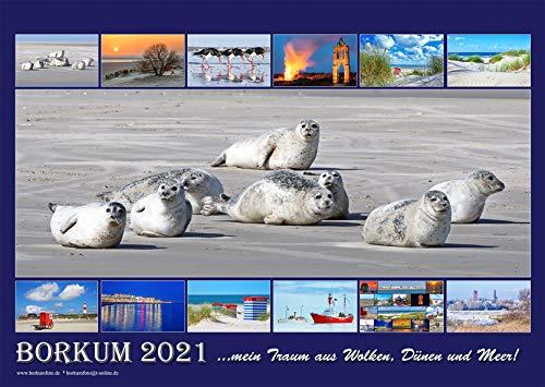 Borkum Kalender 2021, DIN-A3 ...mein Traum aus Wolken, Dünen und Meer! 12 Monate, Wandkalender 2021, DIN A3 quer, 26,90€