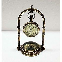 Aysha Nautical Vintage Antique Brass Table Clock Compass Style Nautical Maritime Ship Clock