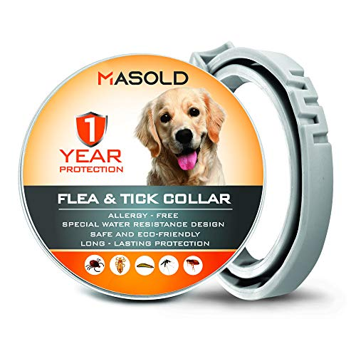 Flea and Tick Collar for Dogs, Adjustable & Waterproof Dog Flea and Tick Prevention Collar with Natural Essential Oil
