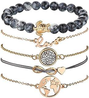 5f77ca978f30b Dsaren Kit de Bracelet Femme Layered Bracelet Réglable Manchette Chaines  élégant Perles Dainty Bijoux Empilable Bracelet