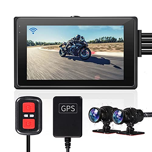 VSYSTO Fish Eye Camera Motorcycle Recording Dash cam Dual 2 Channels Lens Front & Rear 1080P Sports Action Camera Driving Recorder with GPS WiFi 150° Wide Angle 3